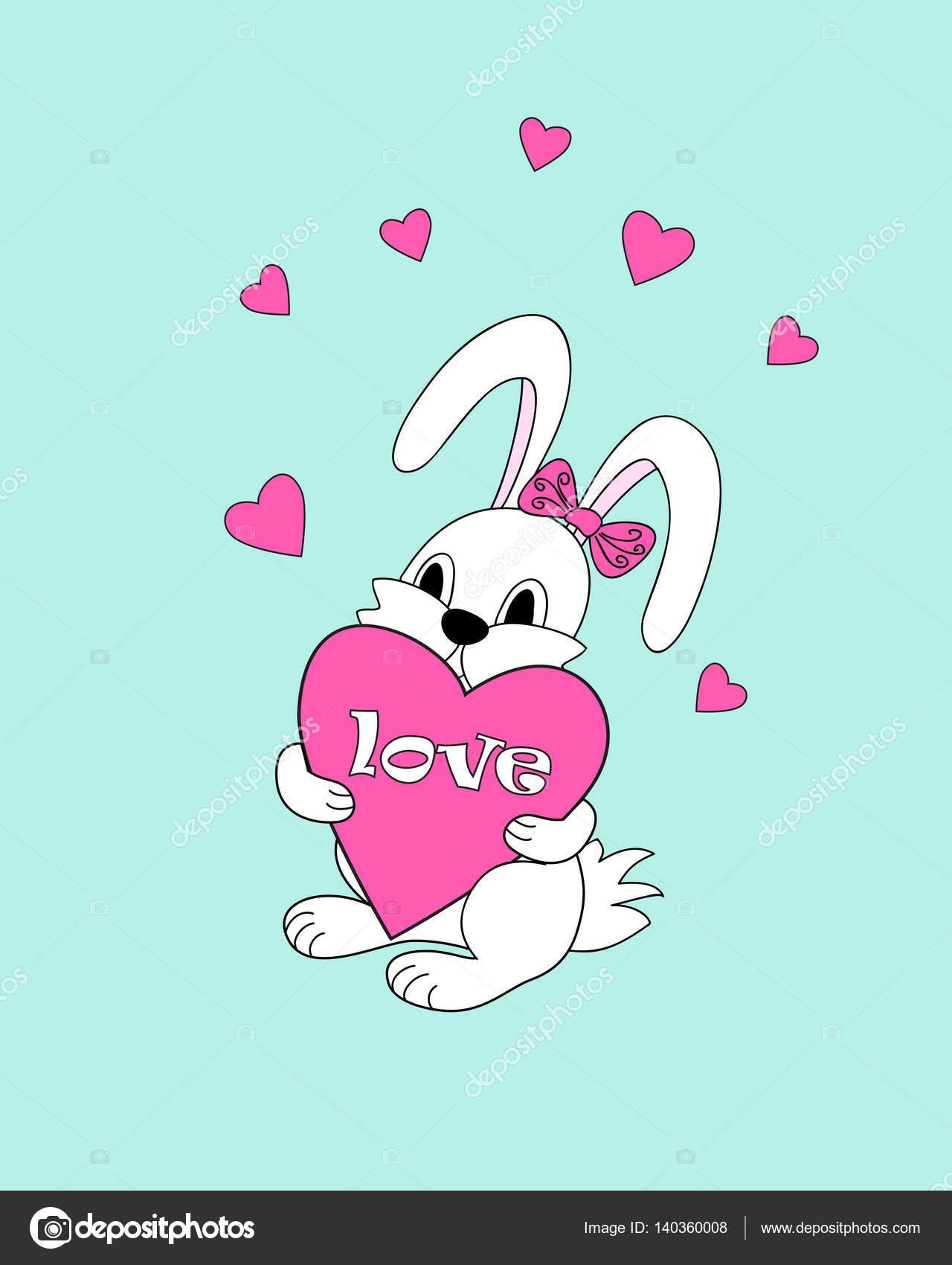 Dessin Amoureux Mignon lapin de dessin animé mignon blanc gardant coeur d'amour — image