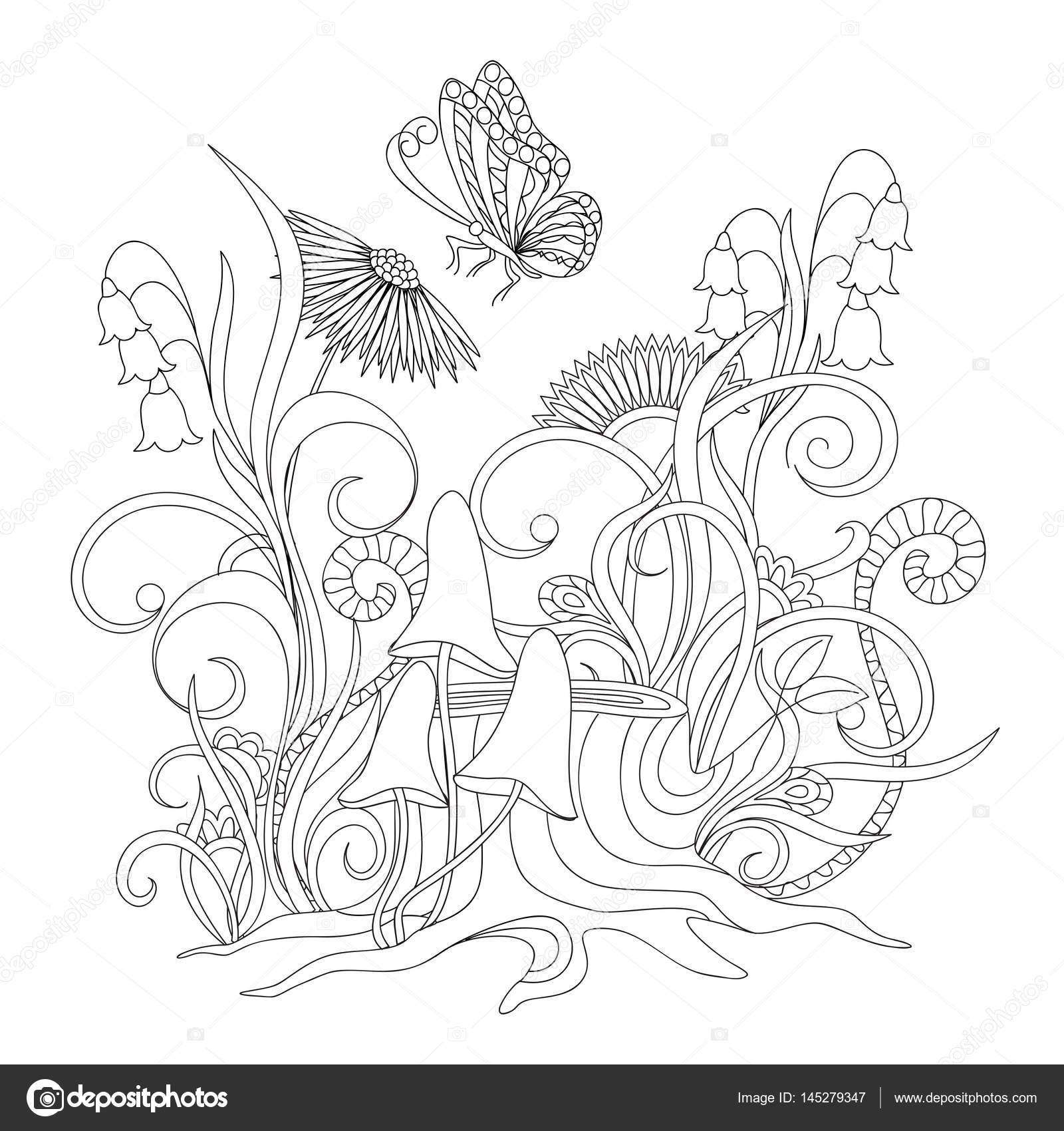 Flores en cepa con raíces y mariposa — Vector de stock © sliplee ...