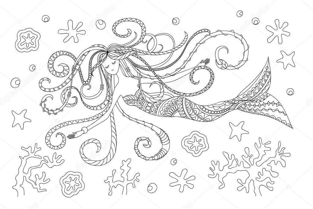 swimming mermaid girl