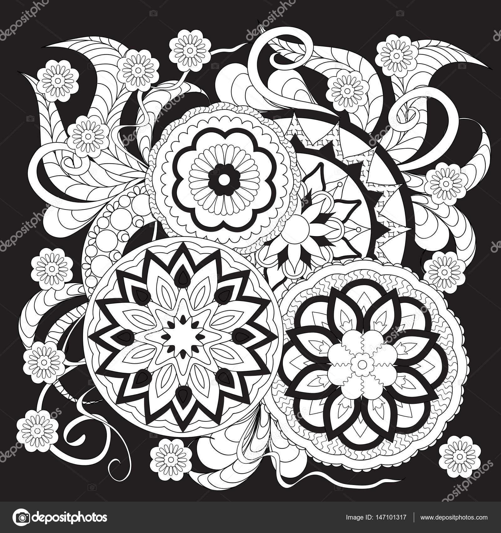 Main Dessine Isol Imprim Blanc Sur Fond Noir Dans Un Style Bohme Avec Des Mandalas Et Fleurs Pour Toile De Carte Visite Dcorer Les Plats