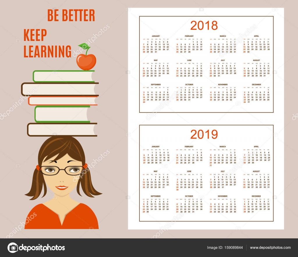 Aprender calendario americano año pared 2018, 2019 — Archivo ...