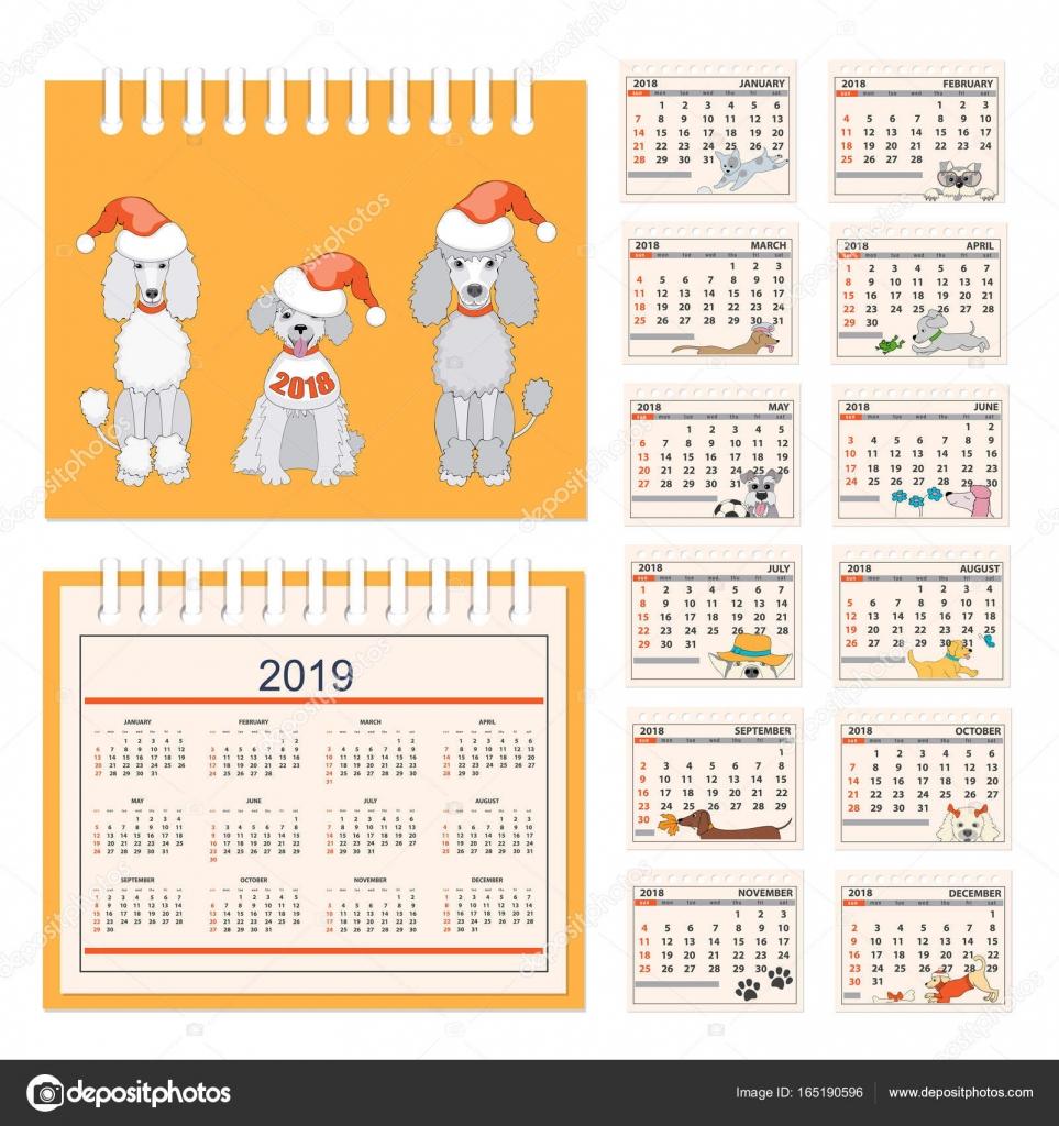 Calendario infantil para pared o escritorio año 2018 — Vector de ...