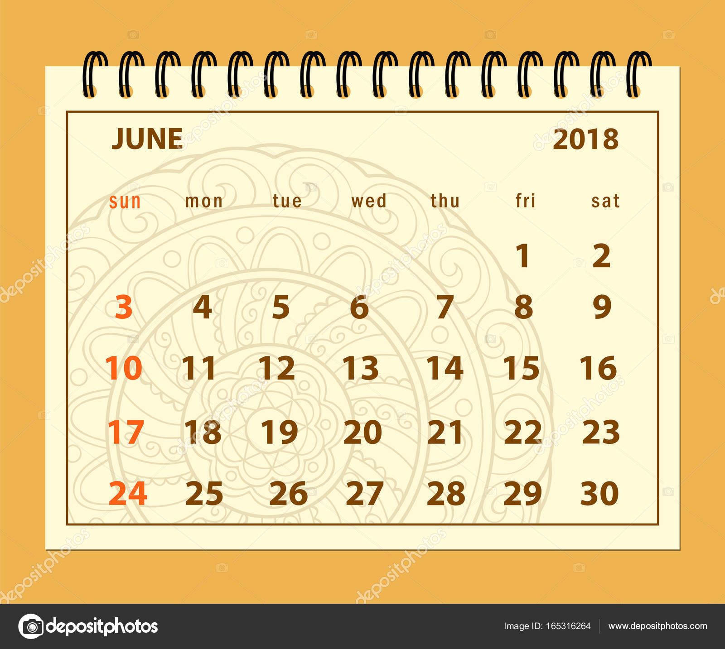 braune Seite Juni 2018 auf Mandala-Hintergrund — Stockvektor ...