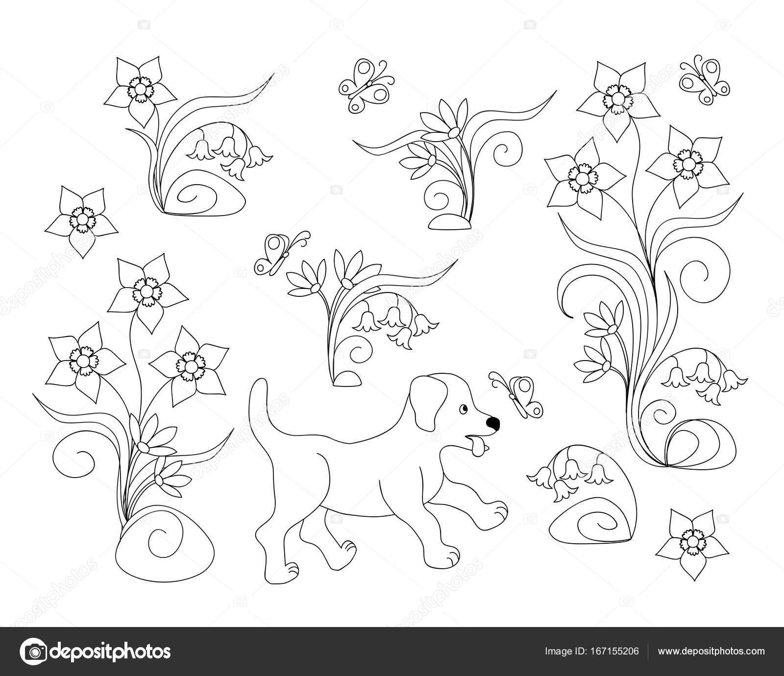 Página para colorear con cachorro entre las flores — Vector de stock ...