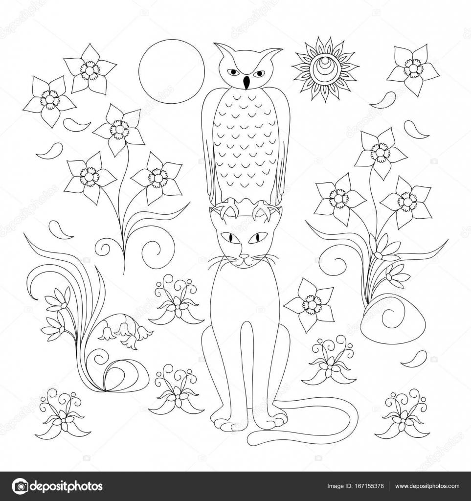 Página para colorear con elegante gato, buho y flores — Archivo ...