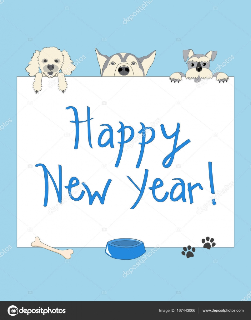 Funny new year blue card with cartoon dogs — Stock Vector © sliplee ...