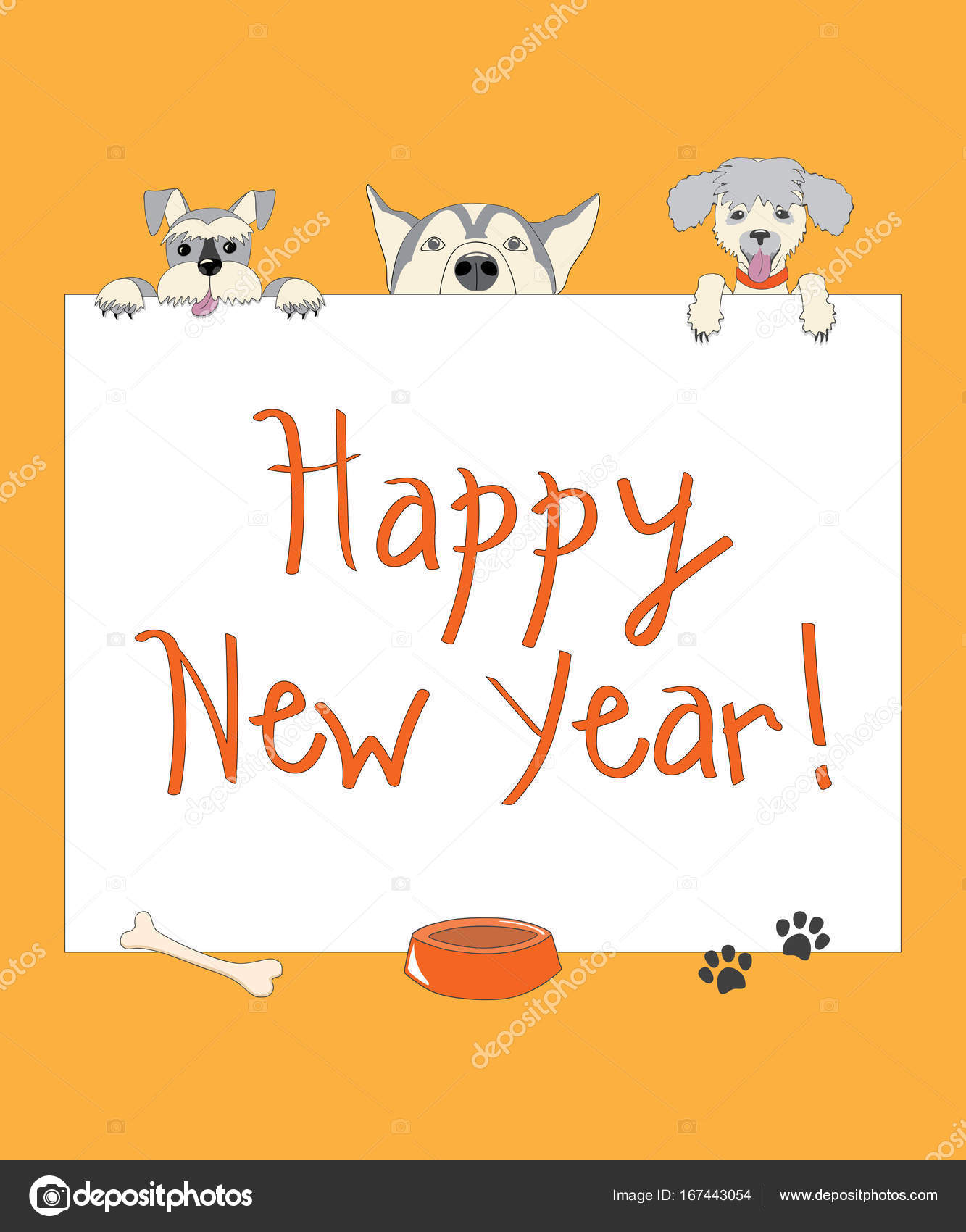 Funny New Year Orange Card With Cartoon Dogs Stock Vector