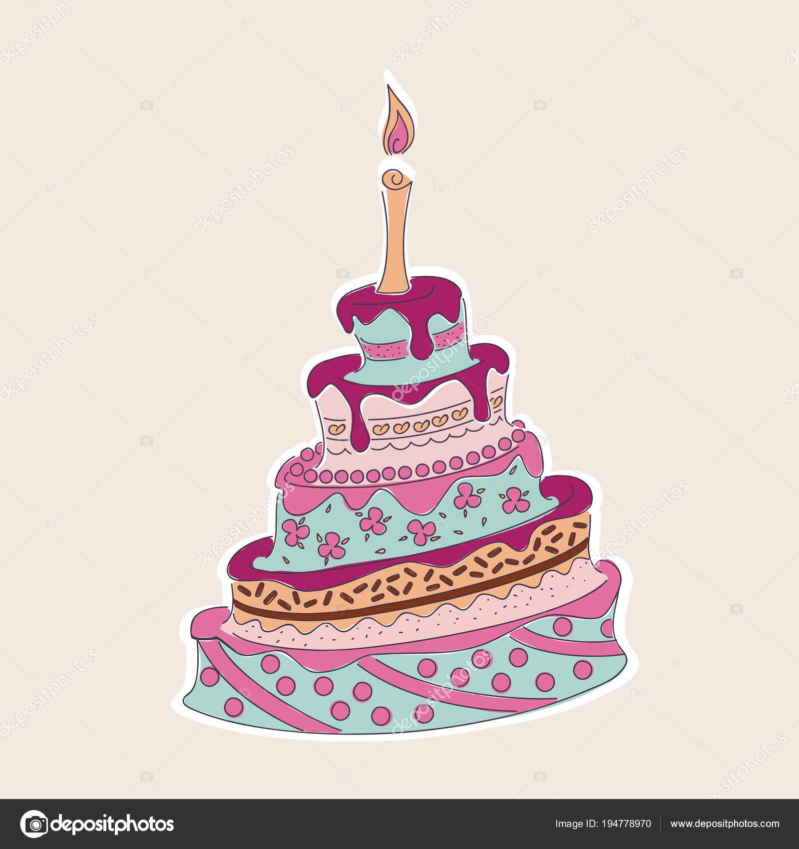 Doodle colorful birthday cake with flowers and candle stock vector cartoon colorful doodle cake tier with flowers and candle isolated on the white background festive invitation card for birthday wedding or valentine day izmirmasajfo