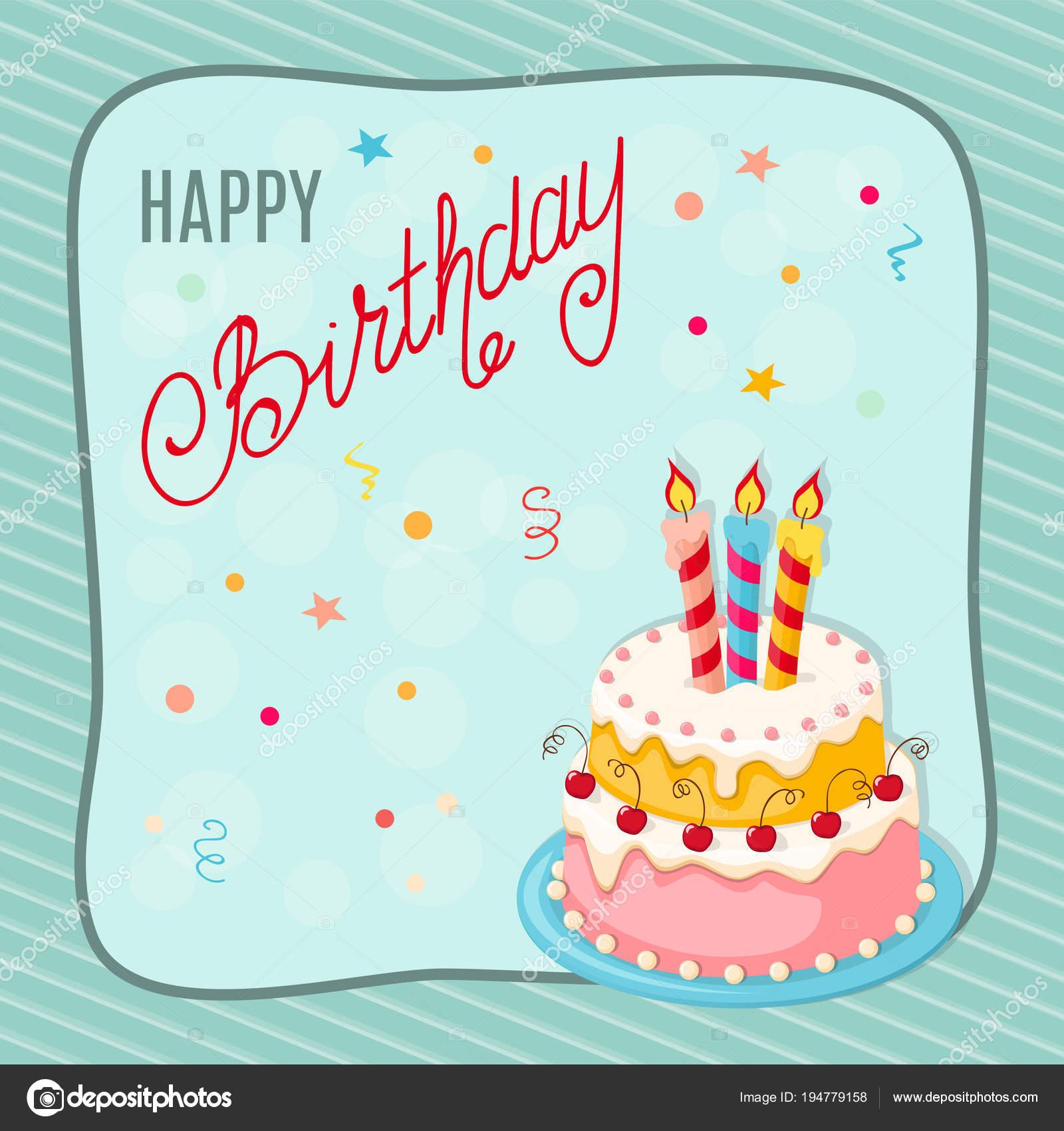 Tarjeta de cumpleaños con tarta, cerezas, tres velas en el marco de ...