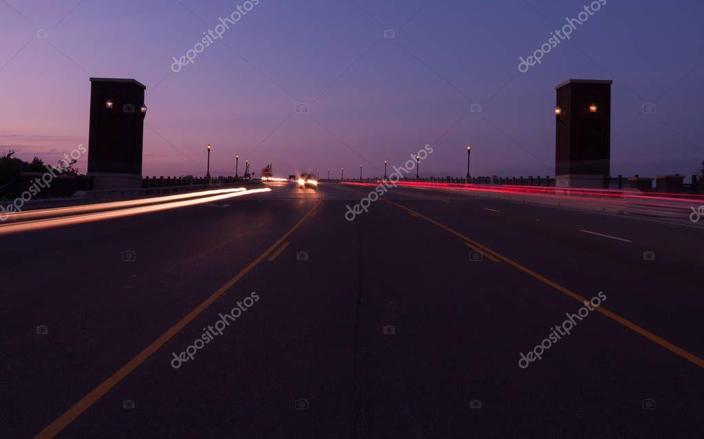 Cars on Bridge at Night Long Exposure