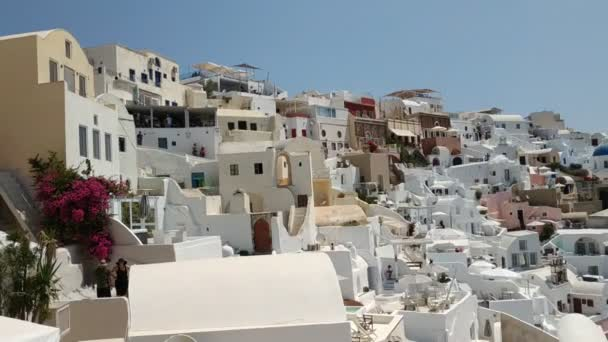 Classic view on the buildings and decoration at the FIra - capital of Santorini, Greece