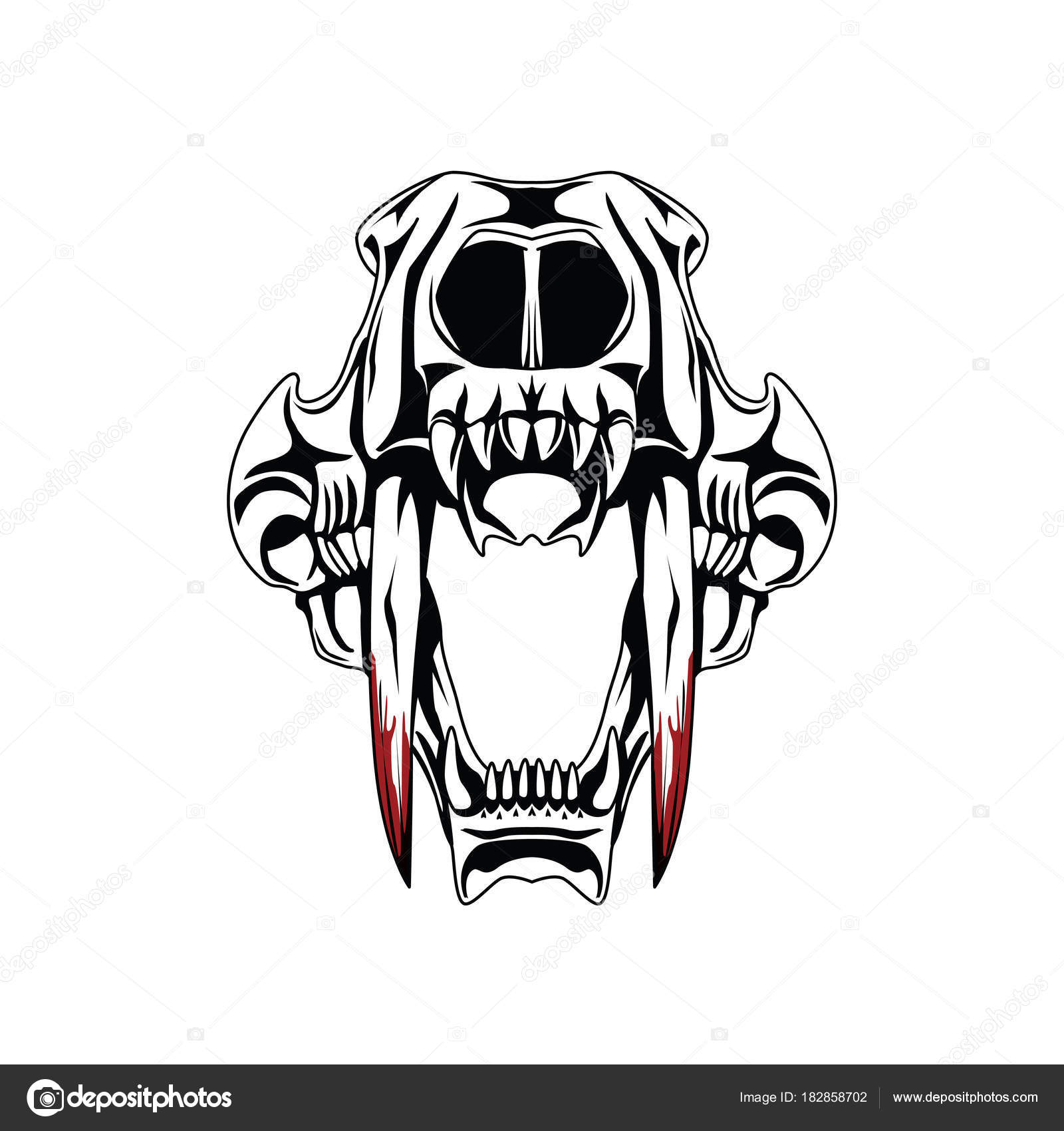 Saber Tooth Tiger Skull Tattoo Stock Photo Doddy77 182858702