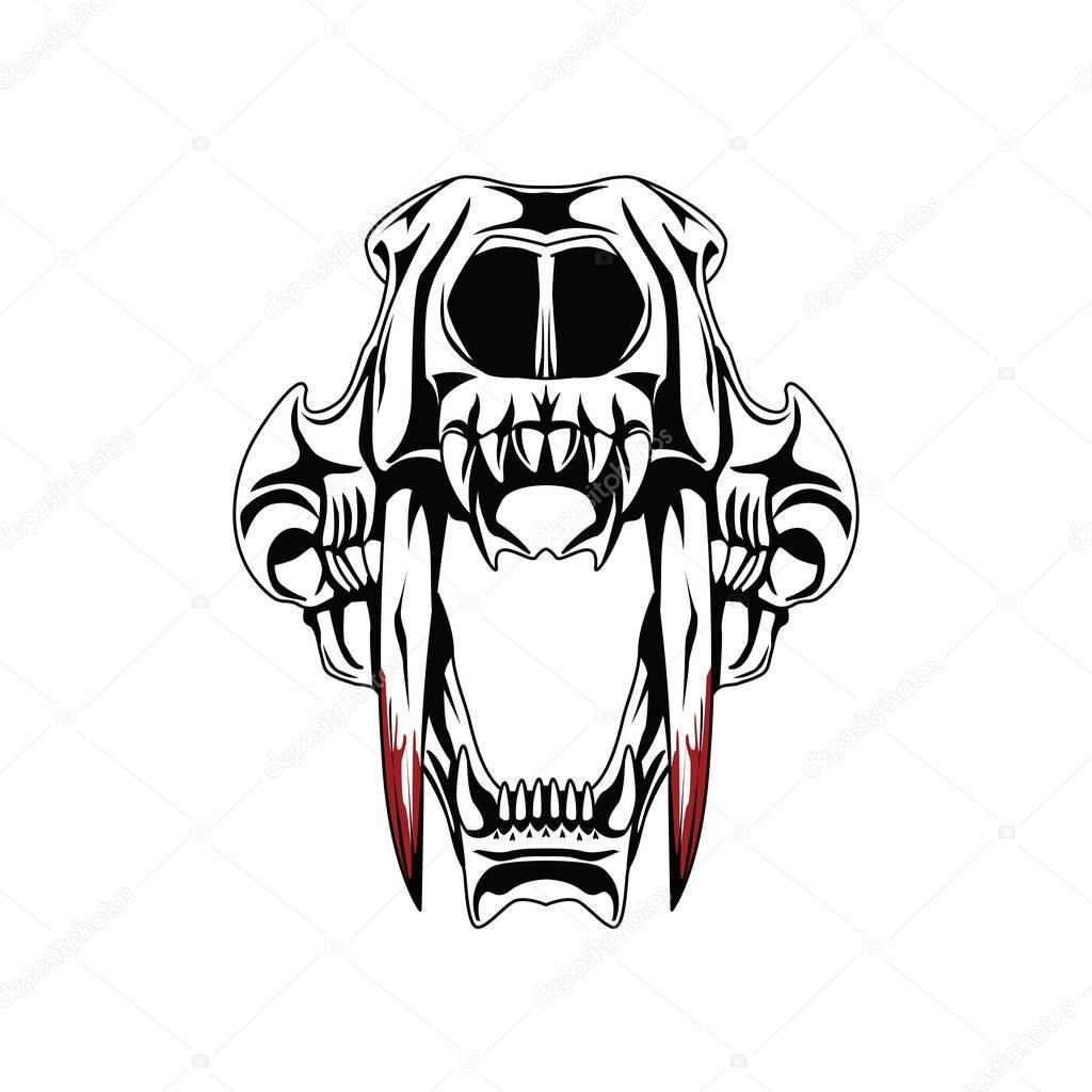 Saber Tooth Tiger Schedel Tattoo Stockfoto Doddy77 182858702