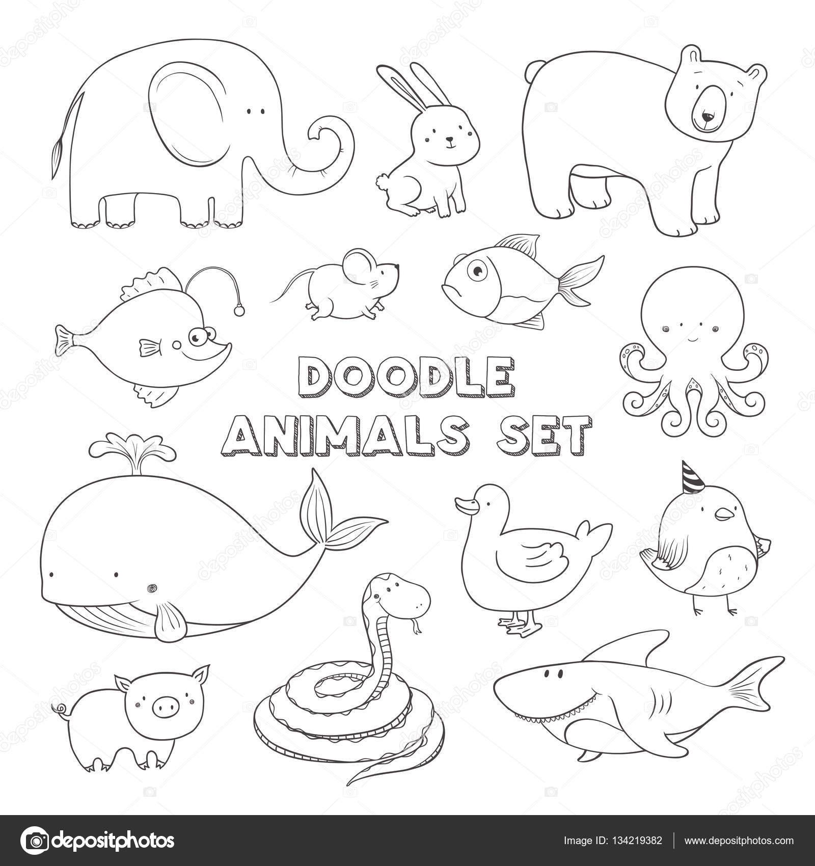 かわいいベクトルの漫画は落書きの動物です。手描きイラスト — ストック