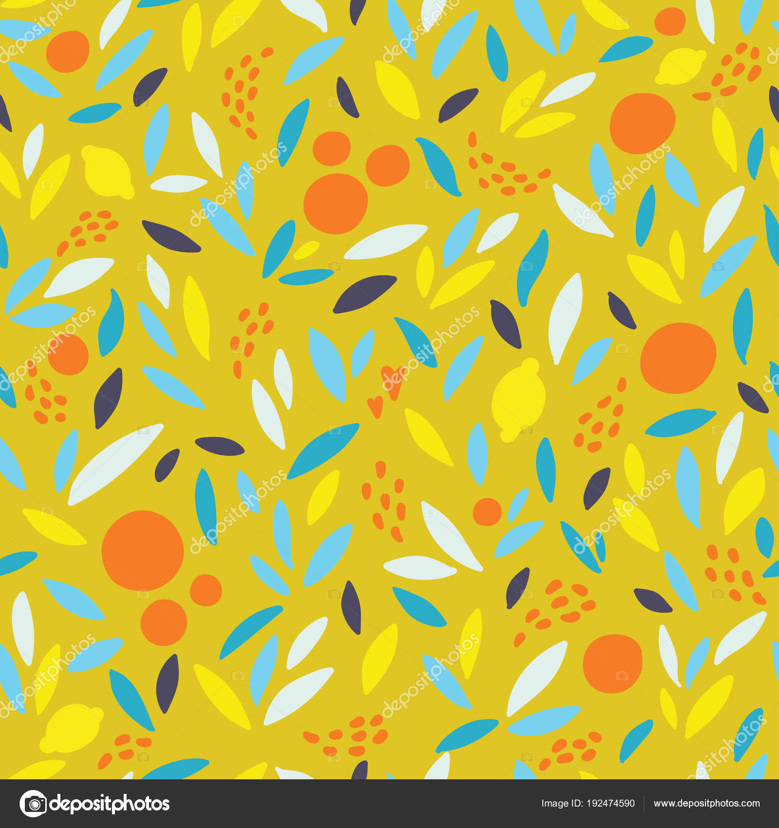 Lovely Colorful Vector Seamless Pattern With Cute Oranges Lemons