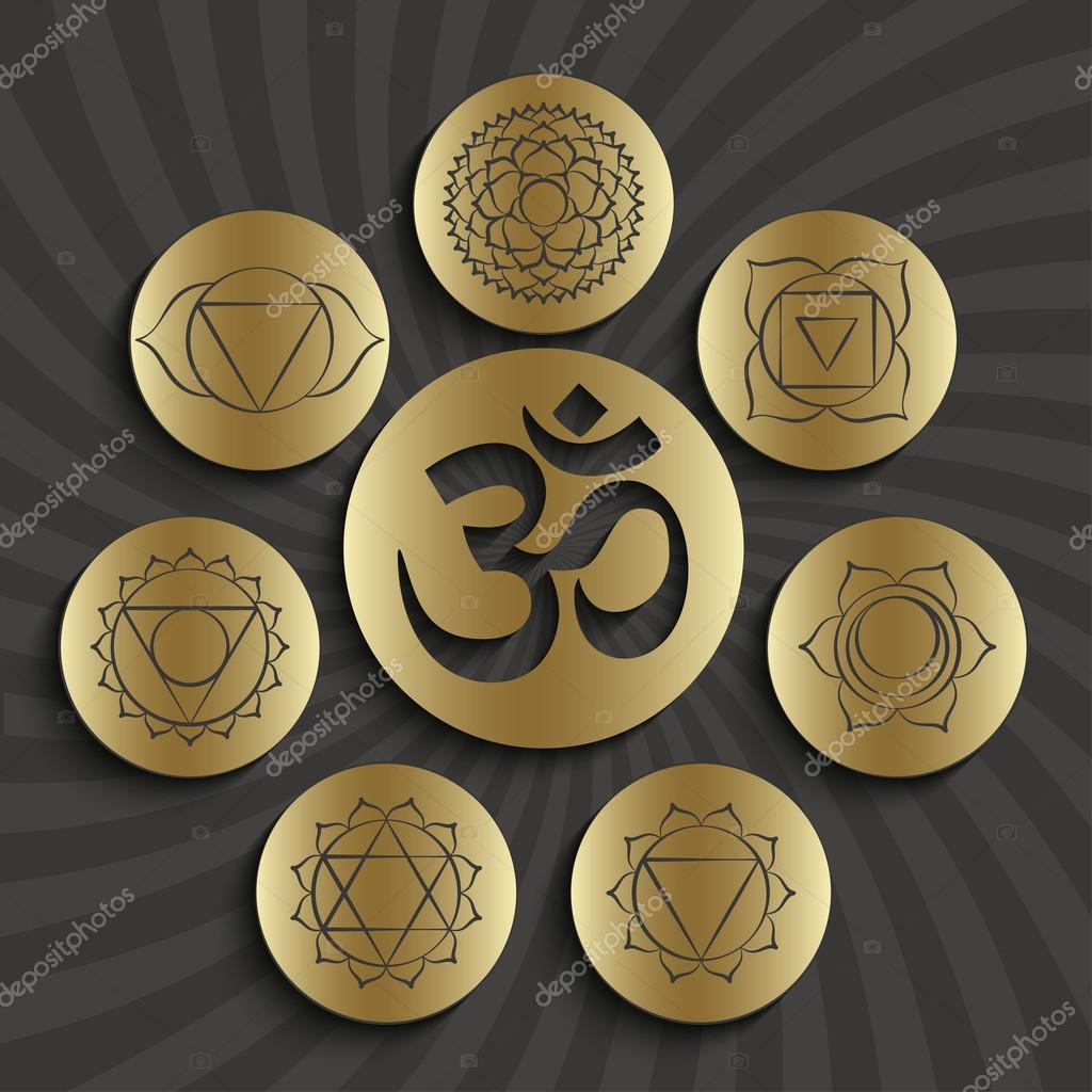 Chakra pictograms and symbol om in the centre set of elements used chakra pictograms and symbol om in the centre set of elements used in hinduism buddhism and ayurveda vector by klerik78 buycottarizona Gallery