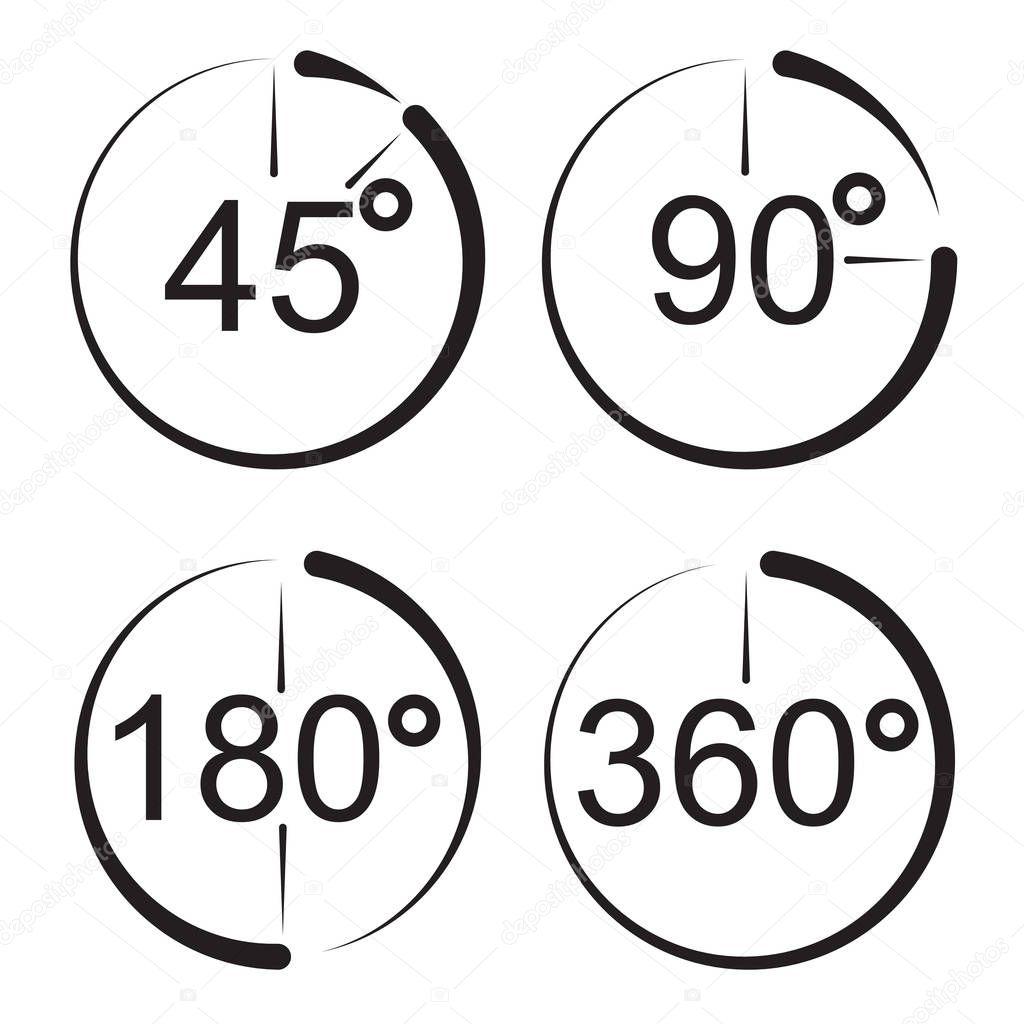 Ángulo de 45, 90, 180, los iconos de 360 grados. Matemáticas ...