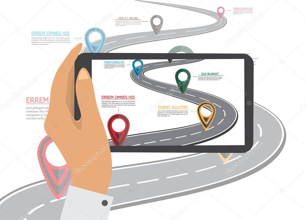 Navigazione gps mobile sul cellulare la mano tiene smartphone con mappa della citt sullo - La mano sullo specchio ...