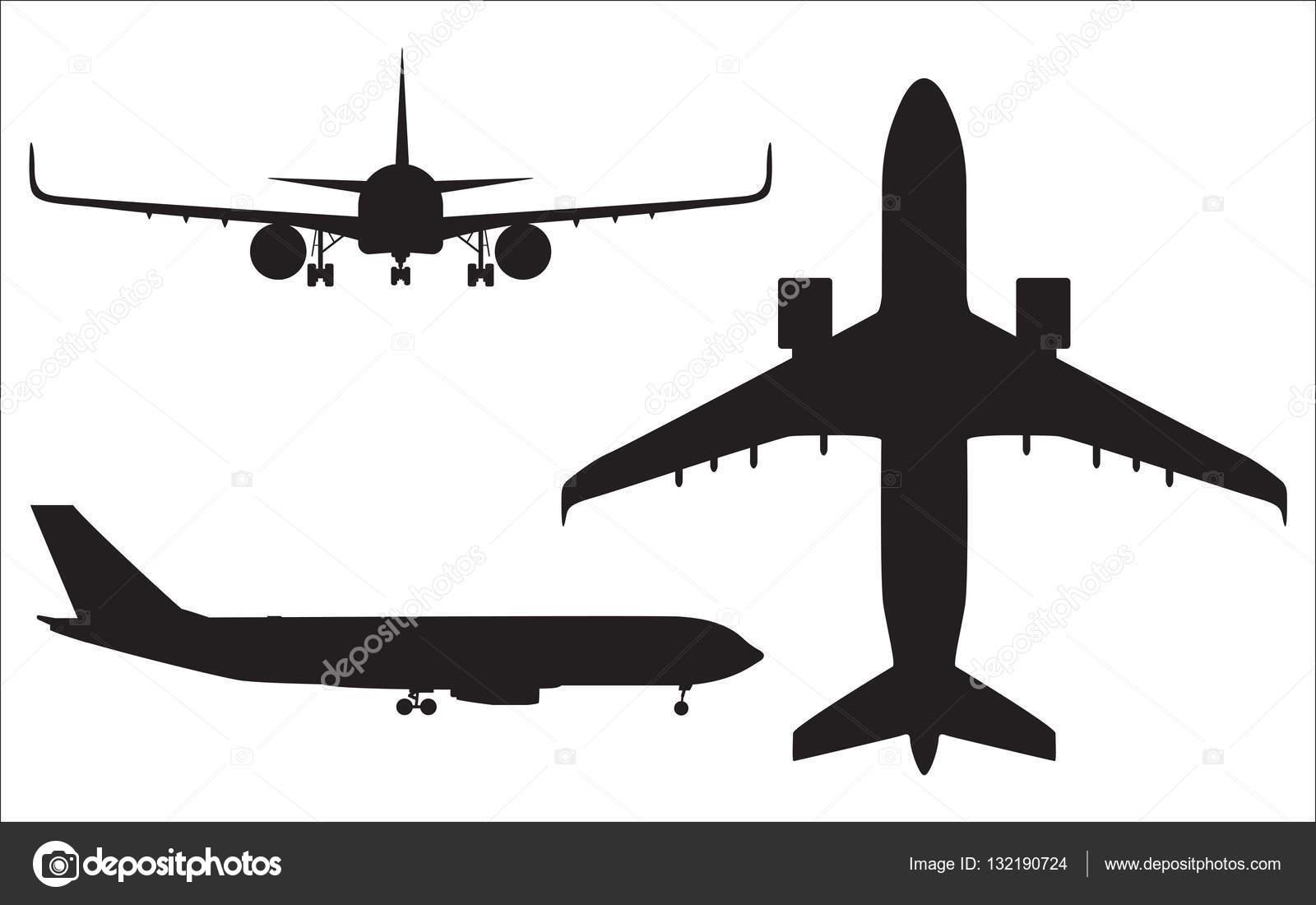 飛行機のシルエットが白い背景で隔離の航空機ベクトル イラスト