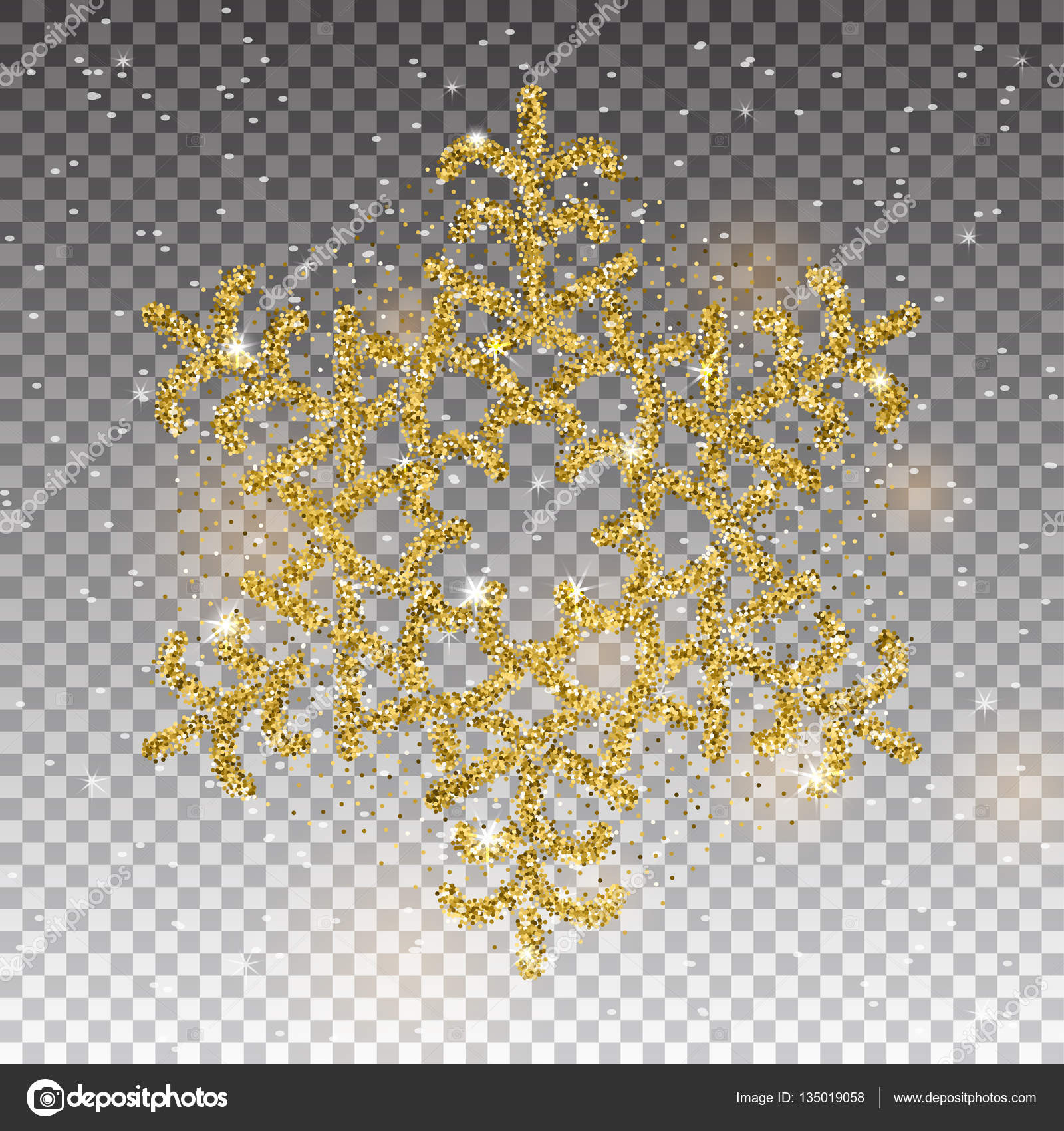 Sparkling golden snowflake with glitter texture for