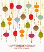 Barevné čínský papír pouliční lucerny pozadí v plochý. Novoroční blahopřání. Vektorové ilustrace