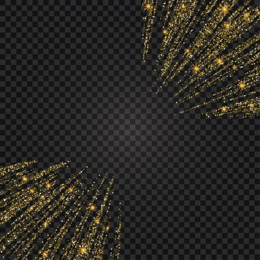 Vector festive illustration of falling shiny particles and stars isolated on transparent background. Golden Confetti Glitters. Sparkling texture. Holiday Decorative tinsel element for Design