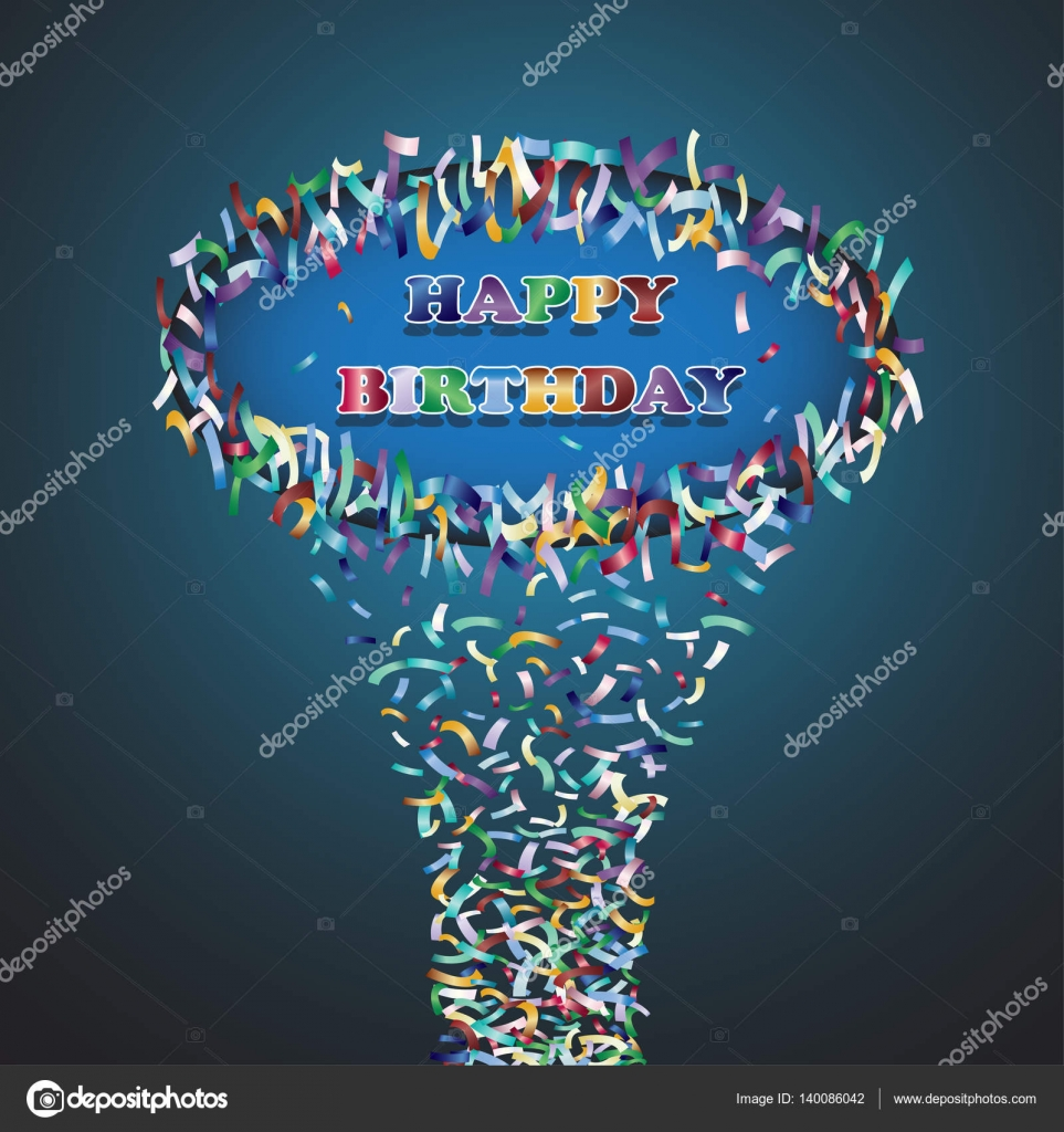 Happy Birthday Greetings With Confetti Vector Illustration Stock