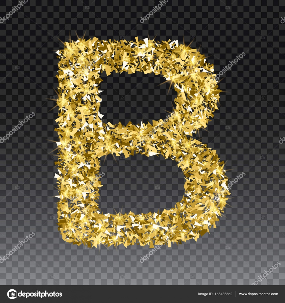 Letra de brillante oro Letras de fuente dorada brillante B. vectores ...