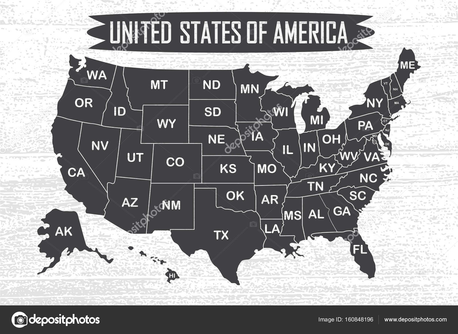 Poster map of United States of America with state names. — Stock ...