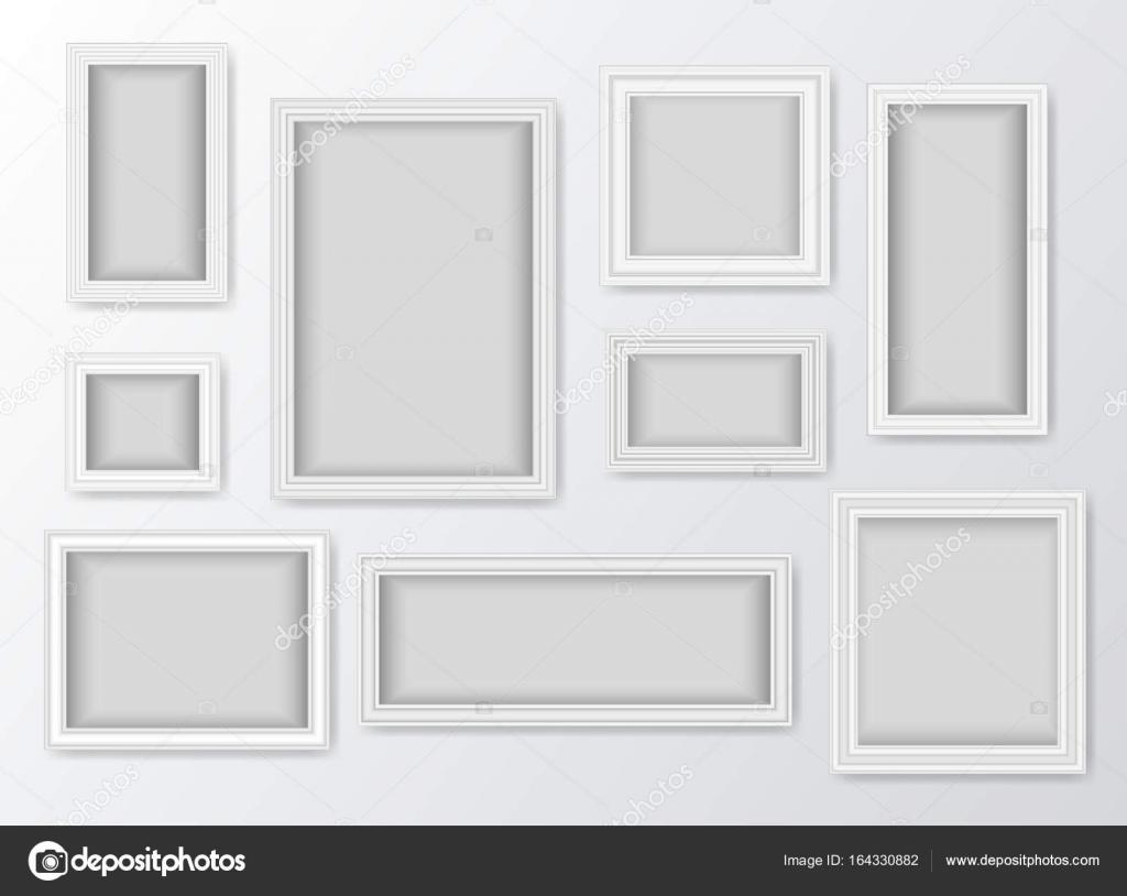 Conjunto de Marcos blanco realista con sombras — Vector de stock ...