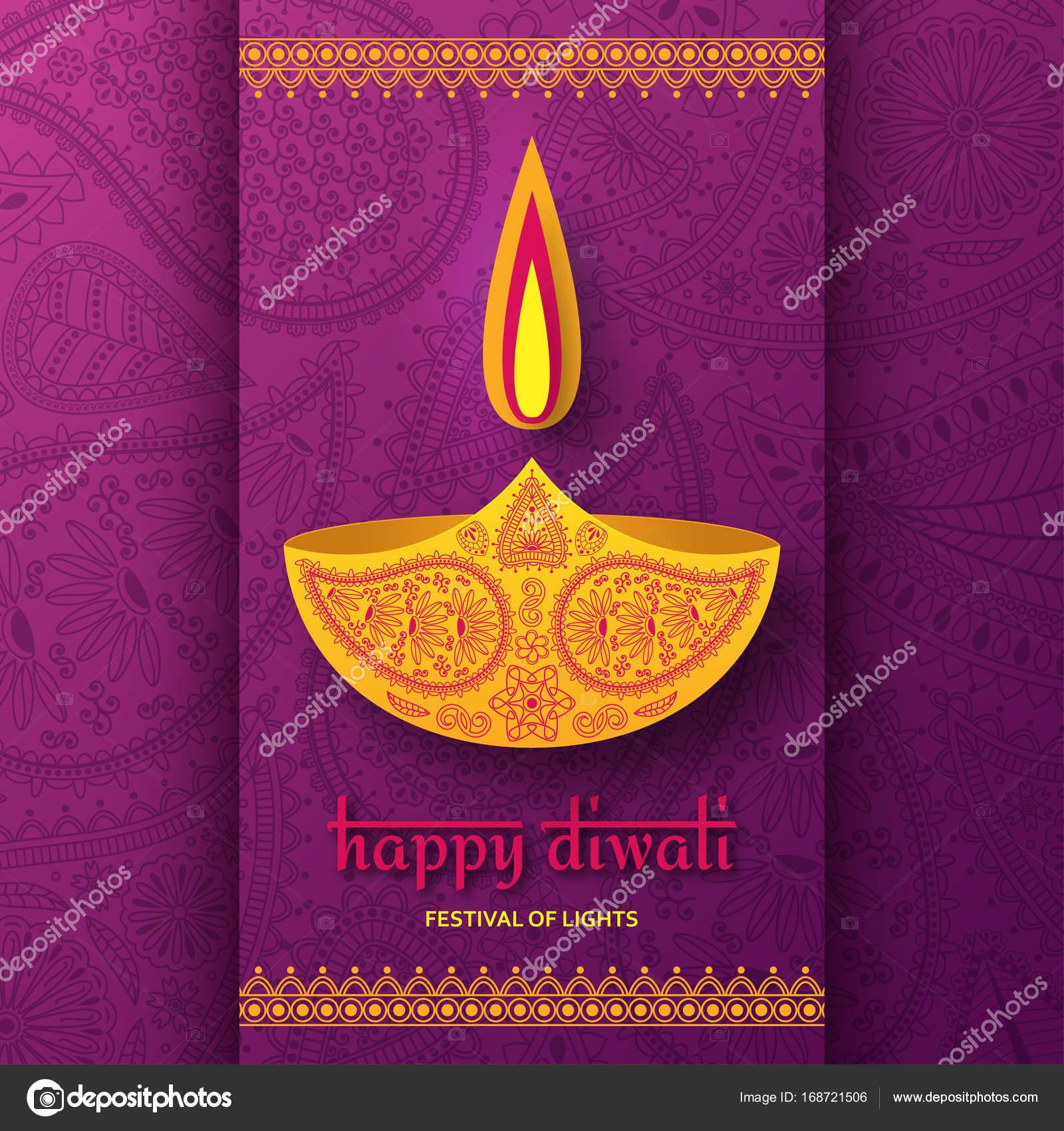 Greeting Card For Diwali Festival Celebration In India Stock