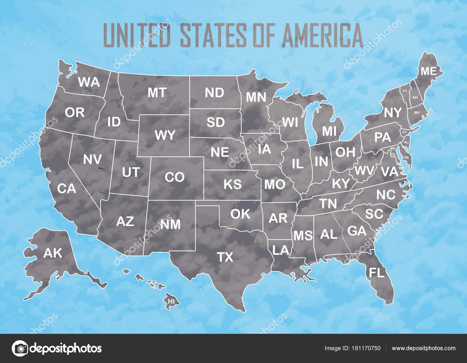Amerika Karte Schwarz Weiß.Poster Karte Der Vereinigten Staaten Von Amerika Mit Statusnamen