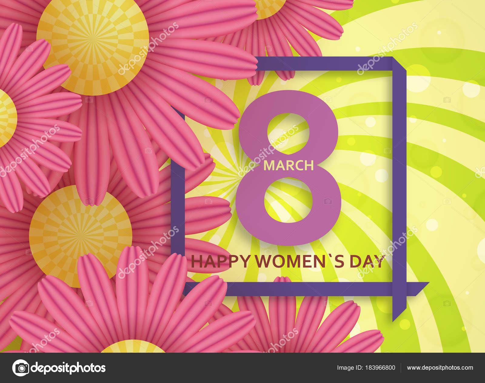 Internationalen Tag der Frauen-Grußkarte. 8. März-Vorlage mit Daisy ...