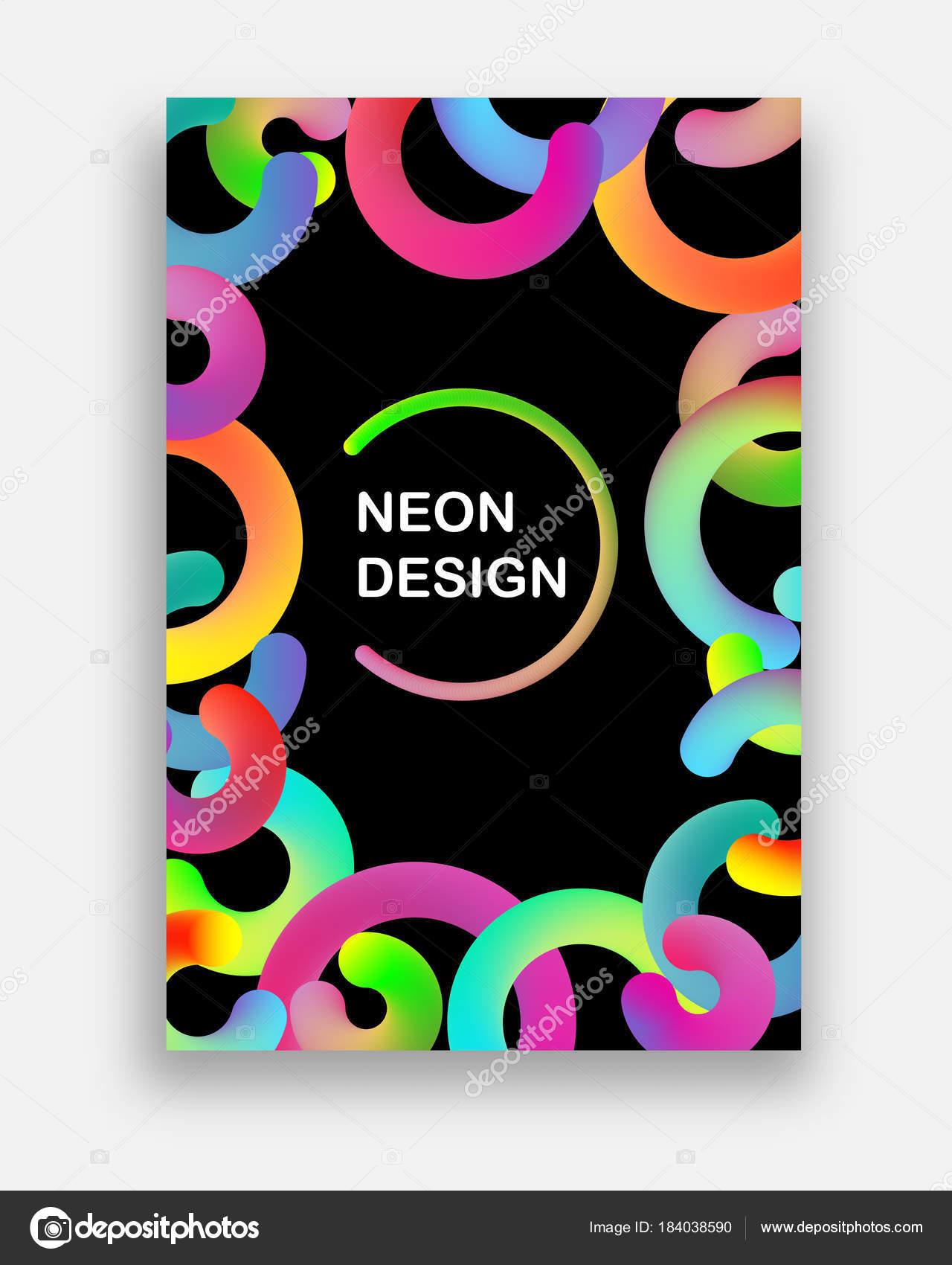 Tarjetas De Invitacion Colores Neon Vectores Colorido Con