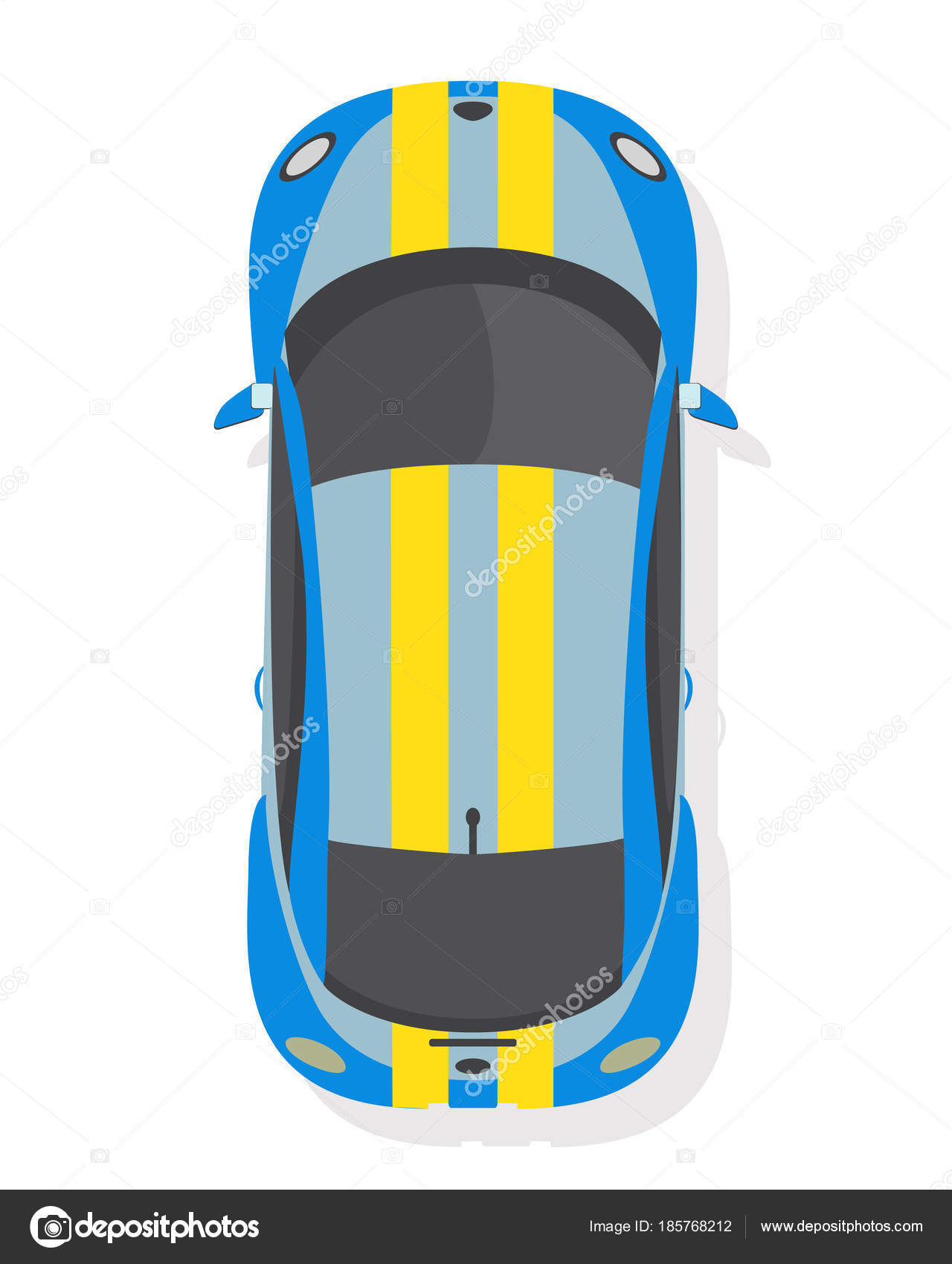 Blue And Yellow Sport Car Top View In Flat Style Isolated On A