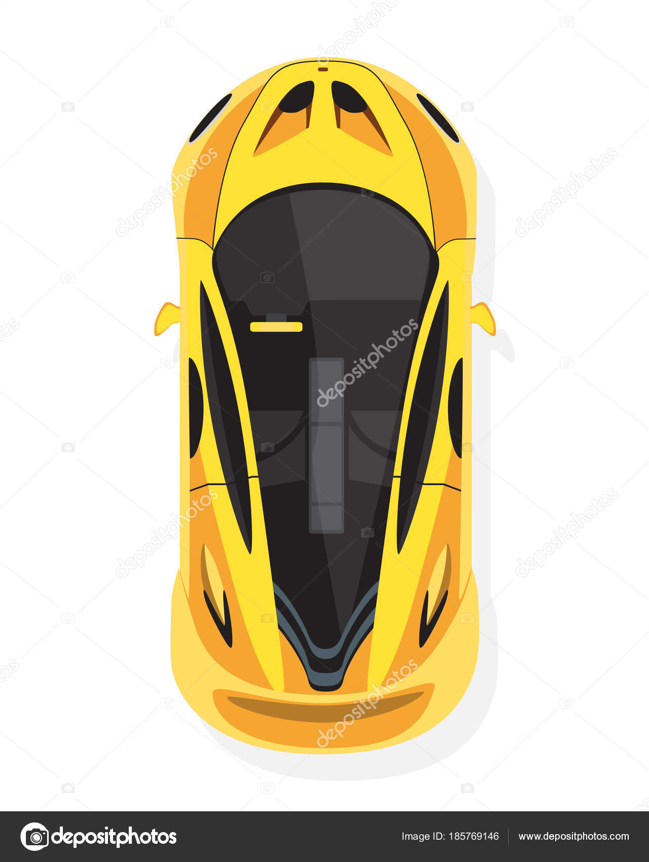 Yellow Sport Car Top View In Flat Style Isolated On A White