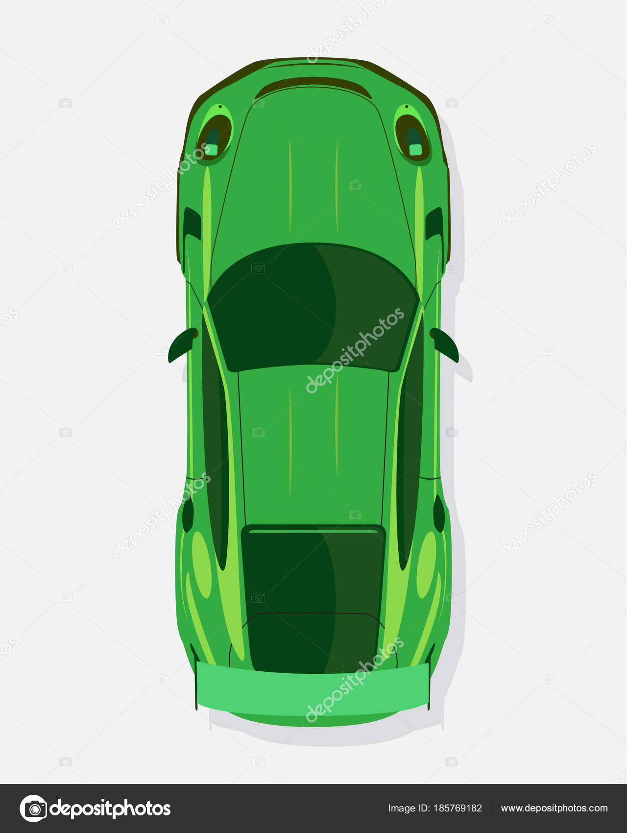 Green Sport Car Top View In Flat Style Isolated On A White