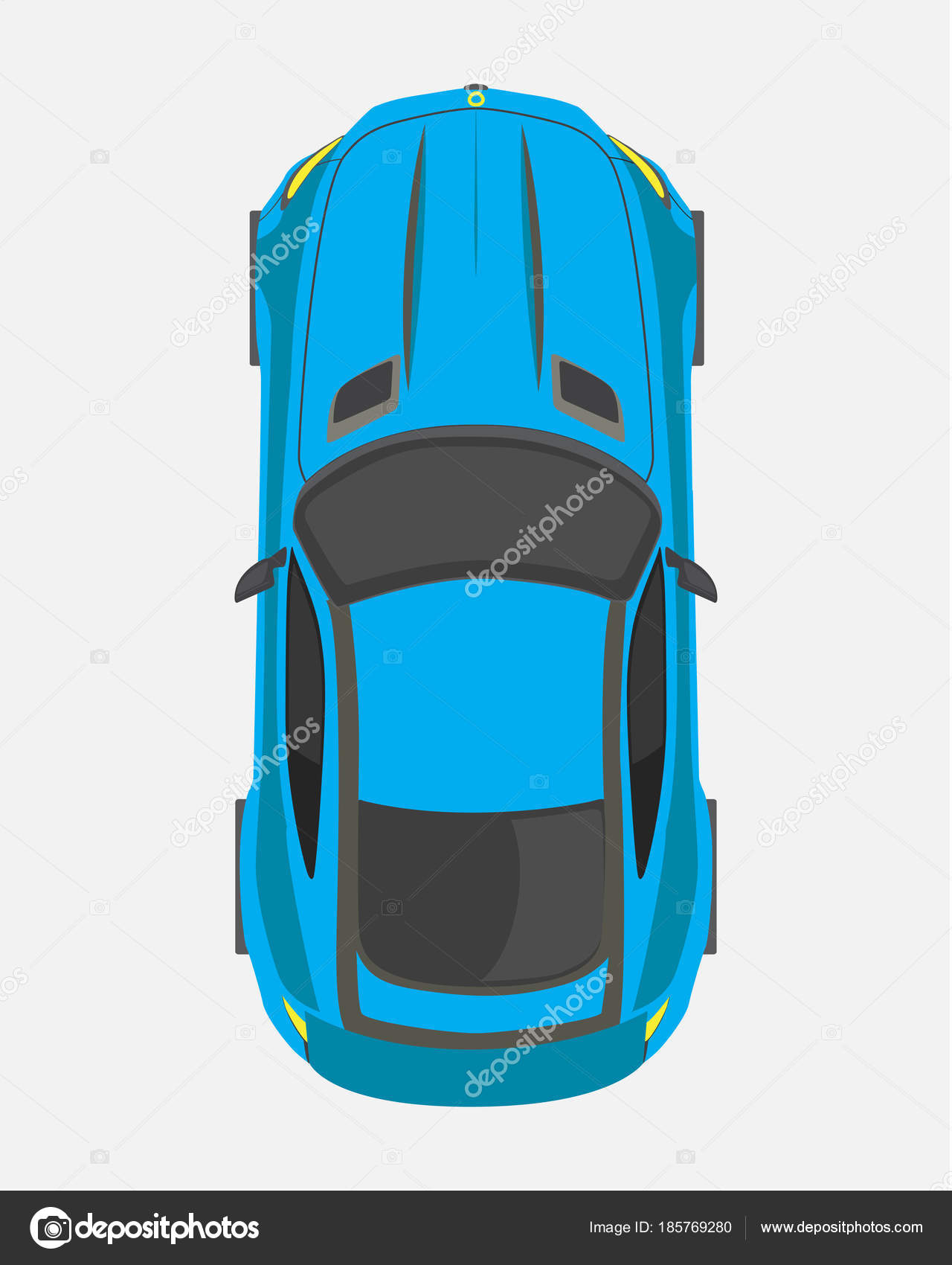 Blue Sport Car, Top View In Flat Style Isolated On A White Background U2014  Stock