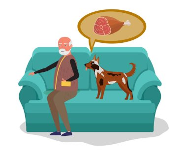 Man with dog sitting on sofa. Dog begs food and dreams about meat