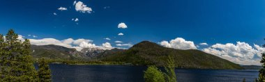A shoreline view of Shadow Mountain Lake on the western end of Rocky Mountain National Park at Grand Lake Colorado.