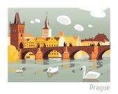 Praha Karlův most vektorové ilustrace