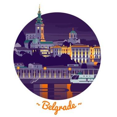 Night Belgrade vector illustration