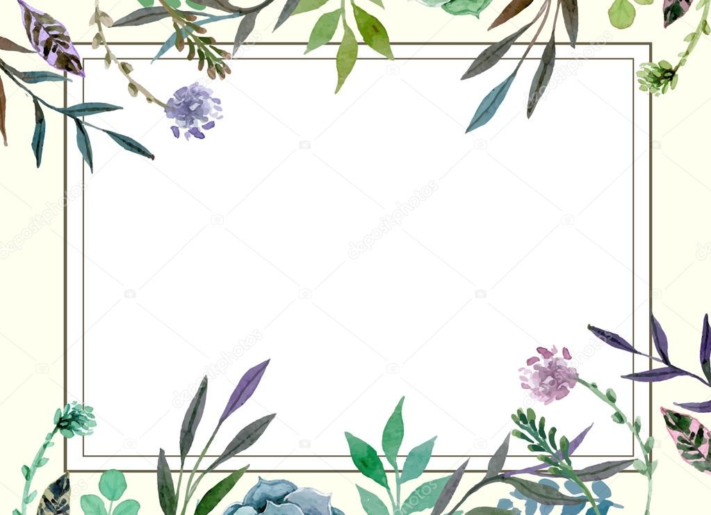 Download premium vector of Blank floral frame card vector ... |Flower Border Designs For Wedding Cards