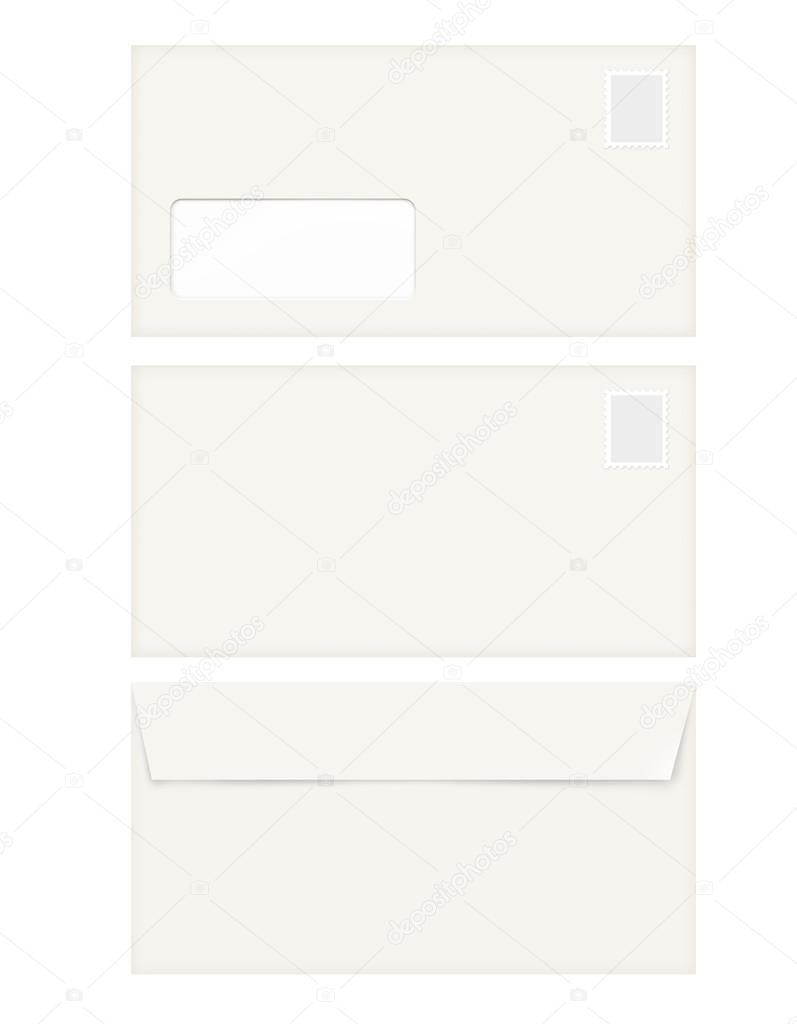 isolated empty window envelope template with stamp stock photo