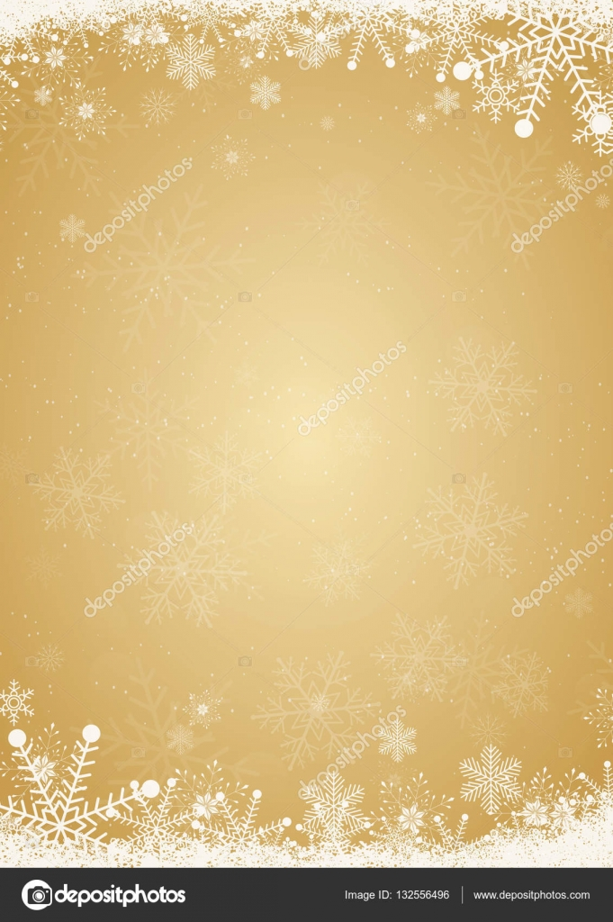 winter gold christmas background with snowflake border stock