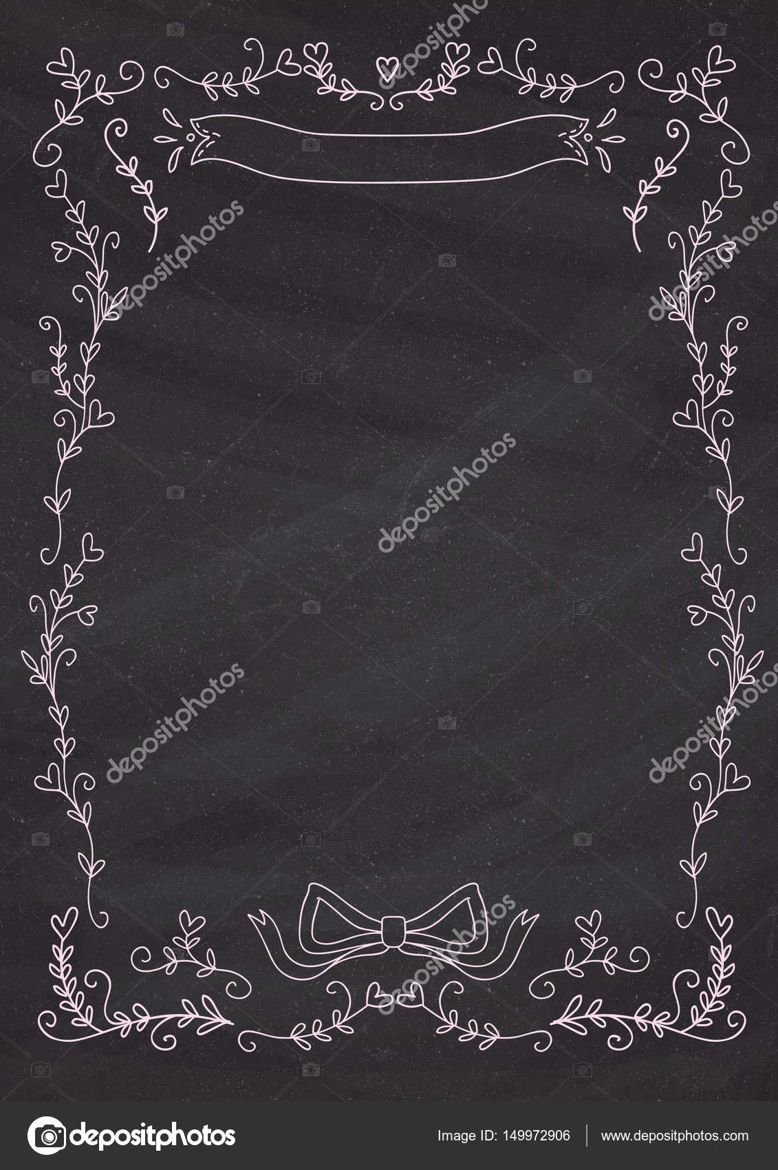 vertical classic blackboard background with heart flower border
