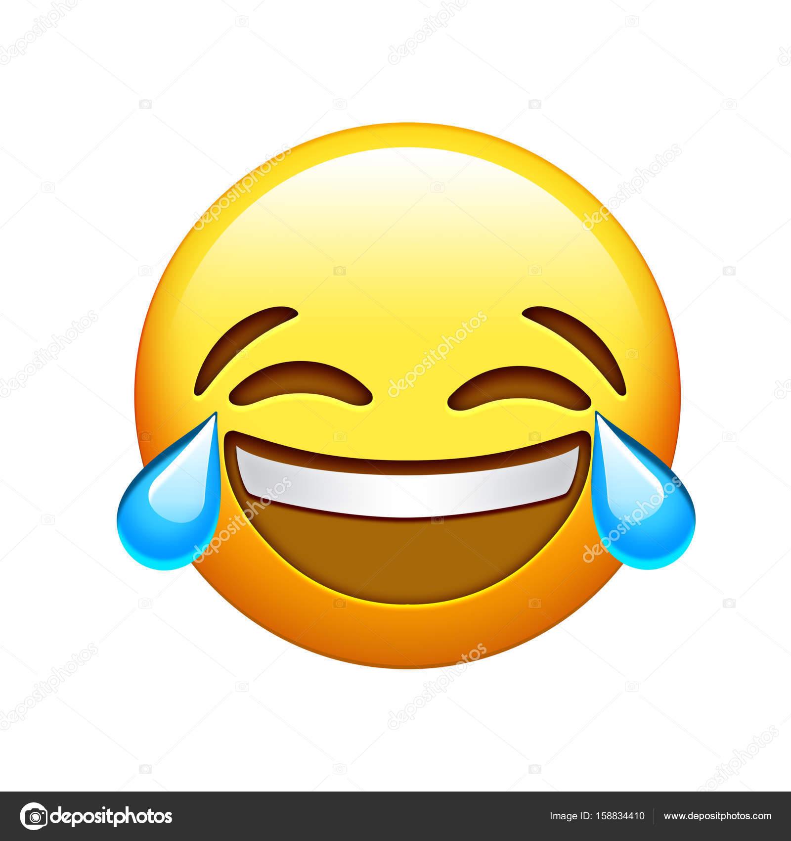 Rire De Emoji Face Jaune Lol Et Icône De Larme Qui Pleure