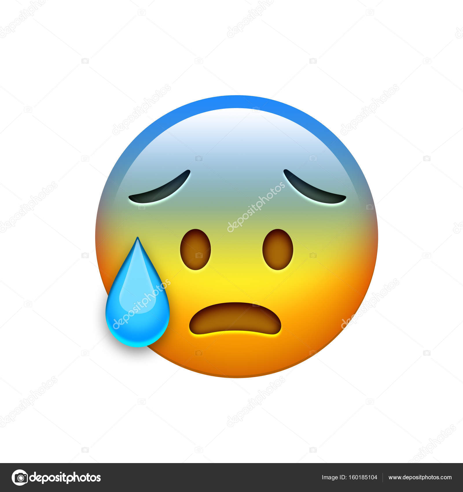 Isolated Emoji Yellow Headache Spooky Face With Tear Icon Stock