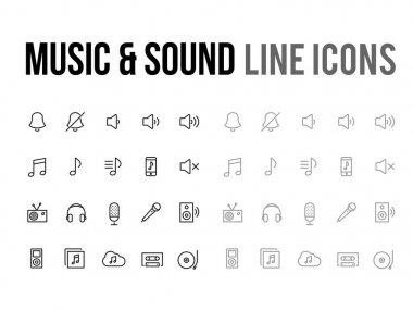 Music & sound vector line icon for app, mobile website responsiv