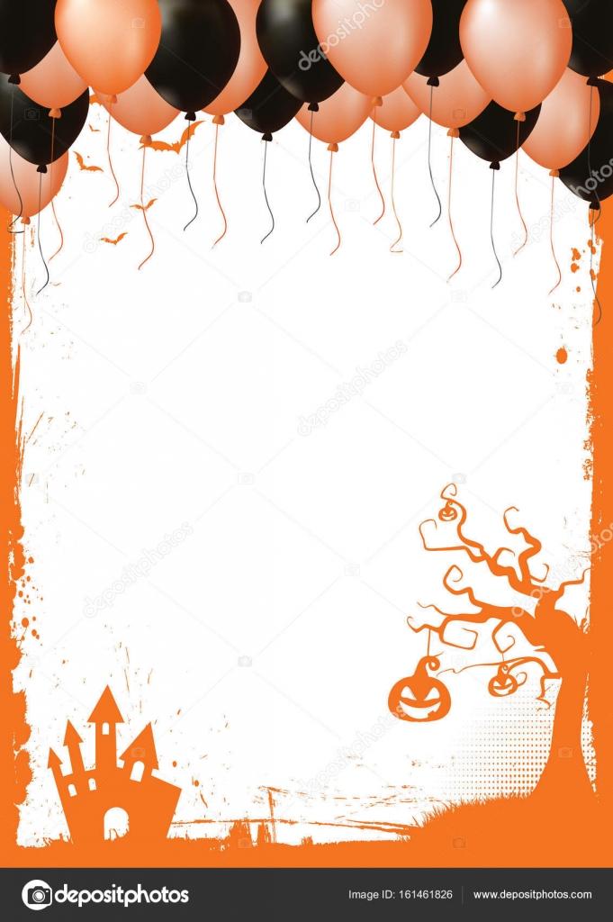 Rahmen der Halloween-Elements, orange und schwarz Luftballon ...